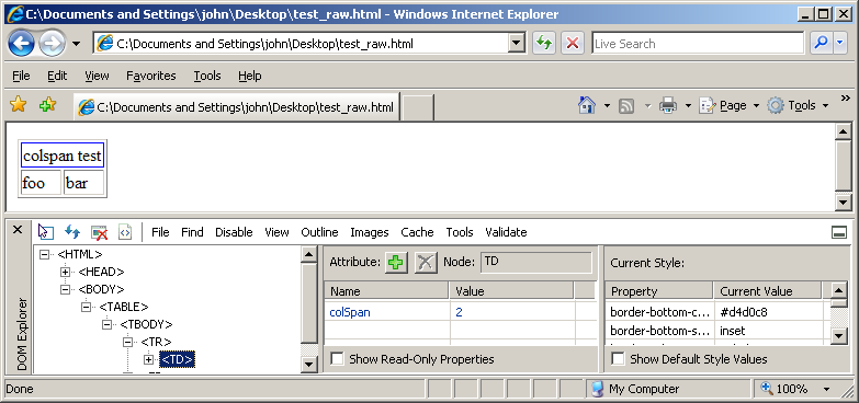 IE Developer Toolbar raw html